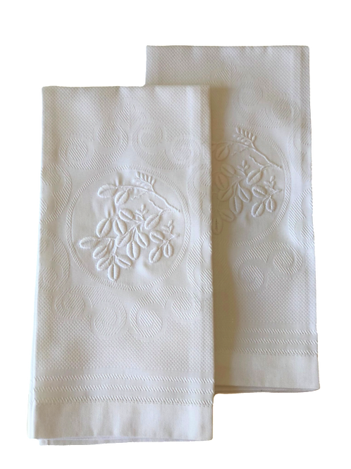Olive Branch Guest Towel - White