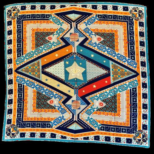 L'étoile Blue and Orange Silk Scarf