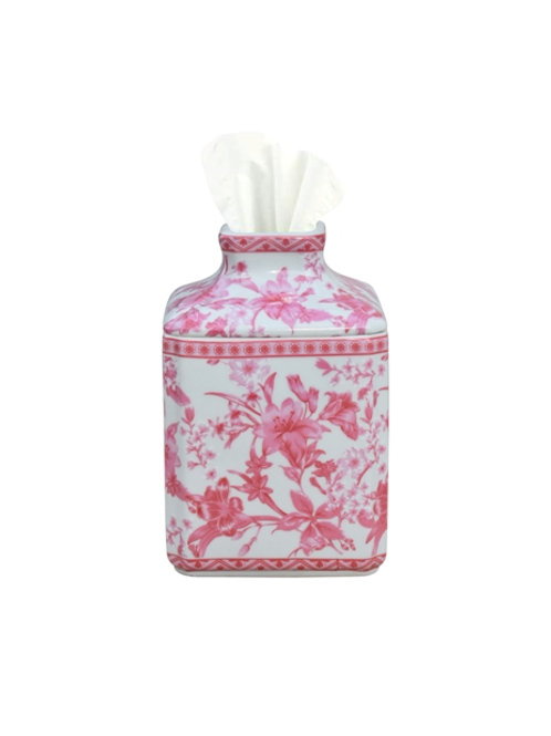 Pink and White Porcelain Tissue Cover