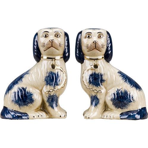 Porcelain Staffordshire Dogs - Blue