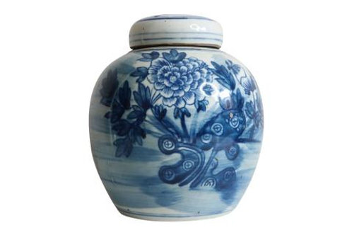 Blue and White Mini Jar with Lid