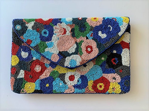Abstract Floral Beaded Clutch