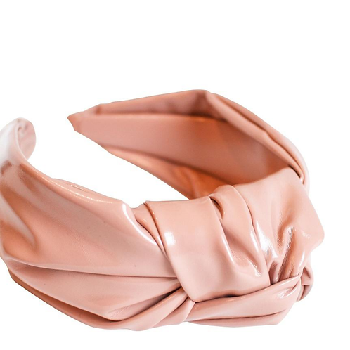 Vegan Leather Knot Headband - Pink