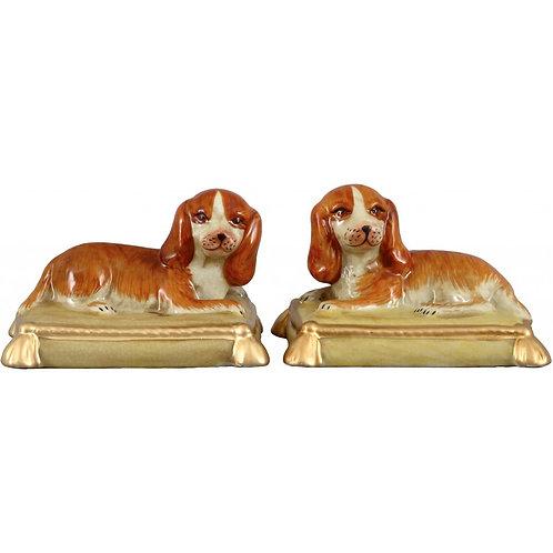 Porcelain Dog Bookends - Pair
