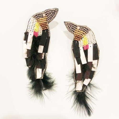 Black Feather Bird Earrings