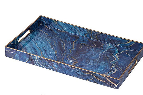 Blue and Gold Marbleized Tray