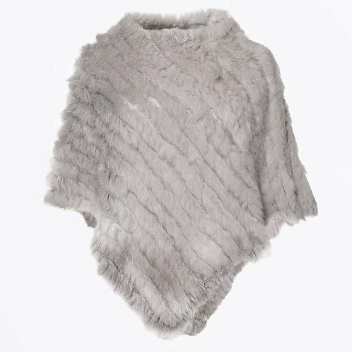 Rabbit Fur Poncho - Light Grey