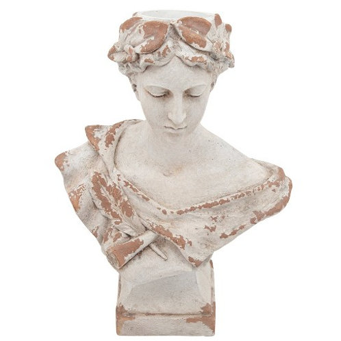 """21"""" Resin Lady with Laurels Planter"""
