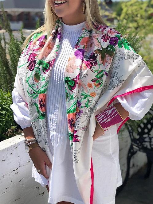 La Fleur Rose Large Silk Scarf