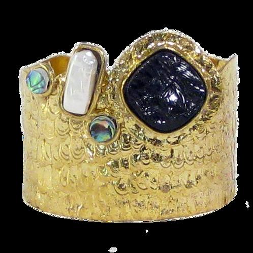 Brass Cuff w/ Abalone Pearl and Black Druzy