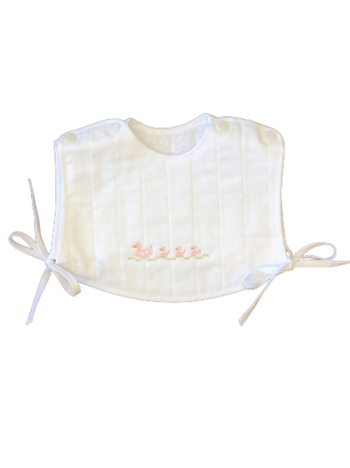 Embroidered Bib with Snaps - Pink Ducks
