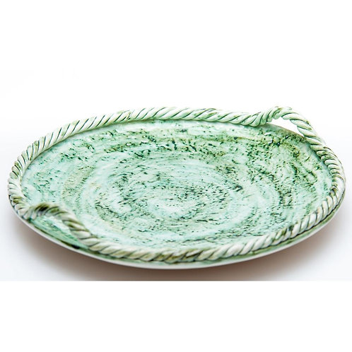 "Green Round Rope Platter 15"""