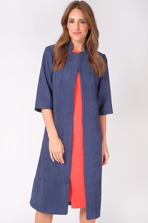 Faux Suede Duster Coat - Navy