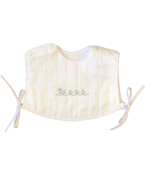 Embroidered Bib with Snaps - Blue Ducks