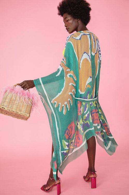 Cashmere Blend Kimono - Green