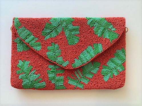 Tropical Palms Beaded Clutch