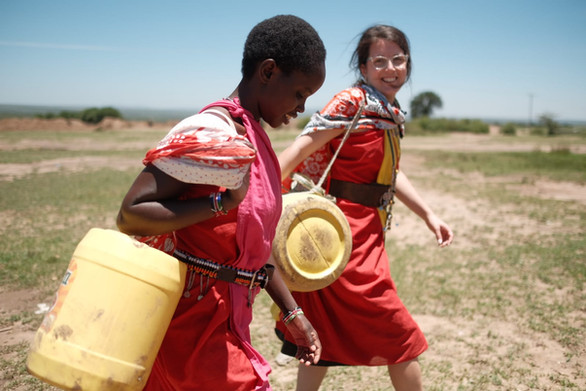 Fetching water with the ladies