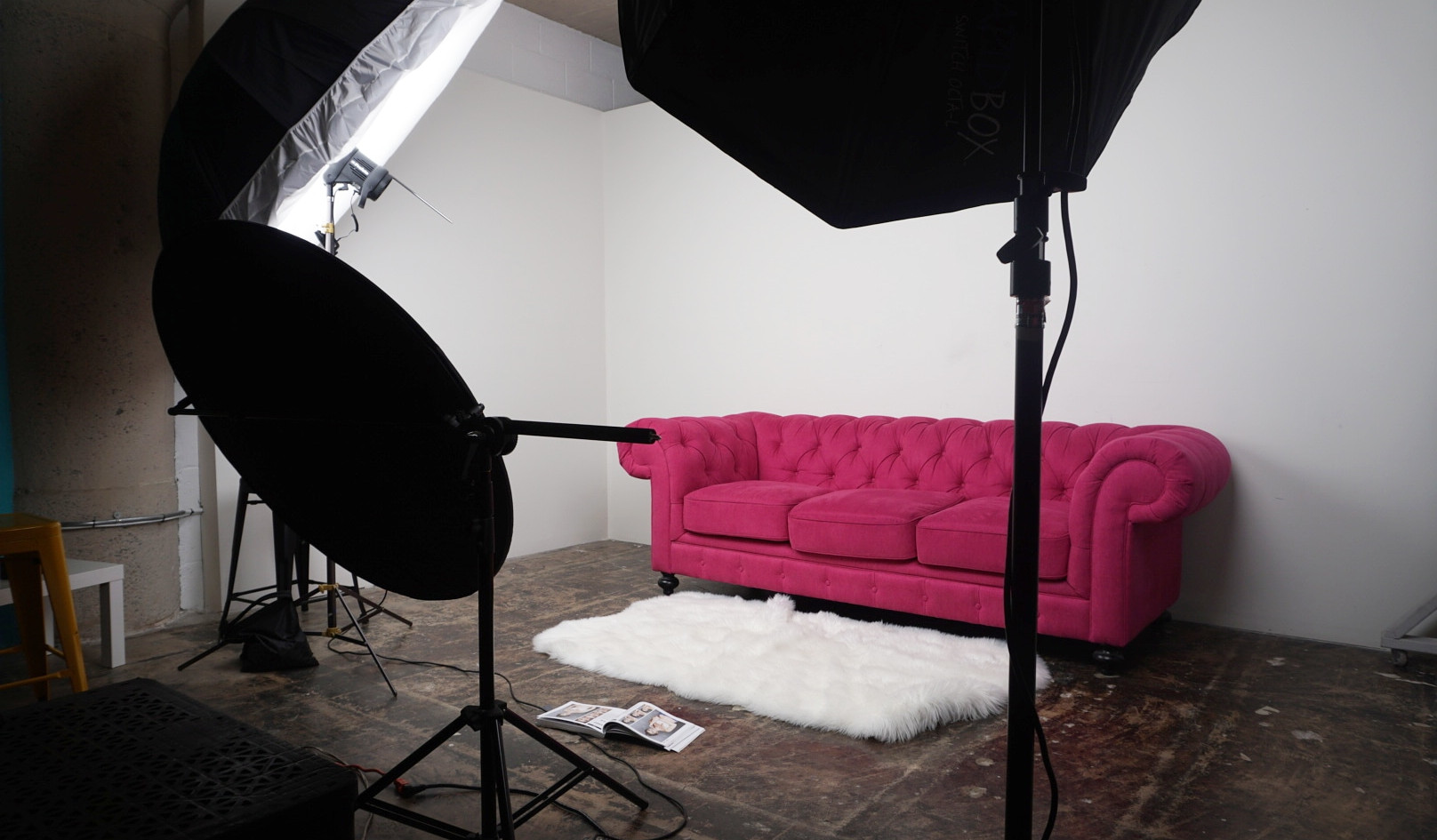 White Wall with Pink Sofa
