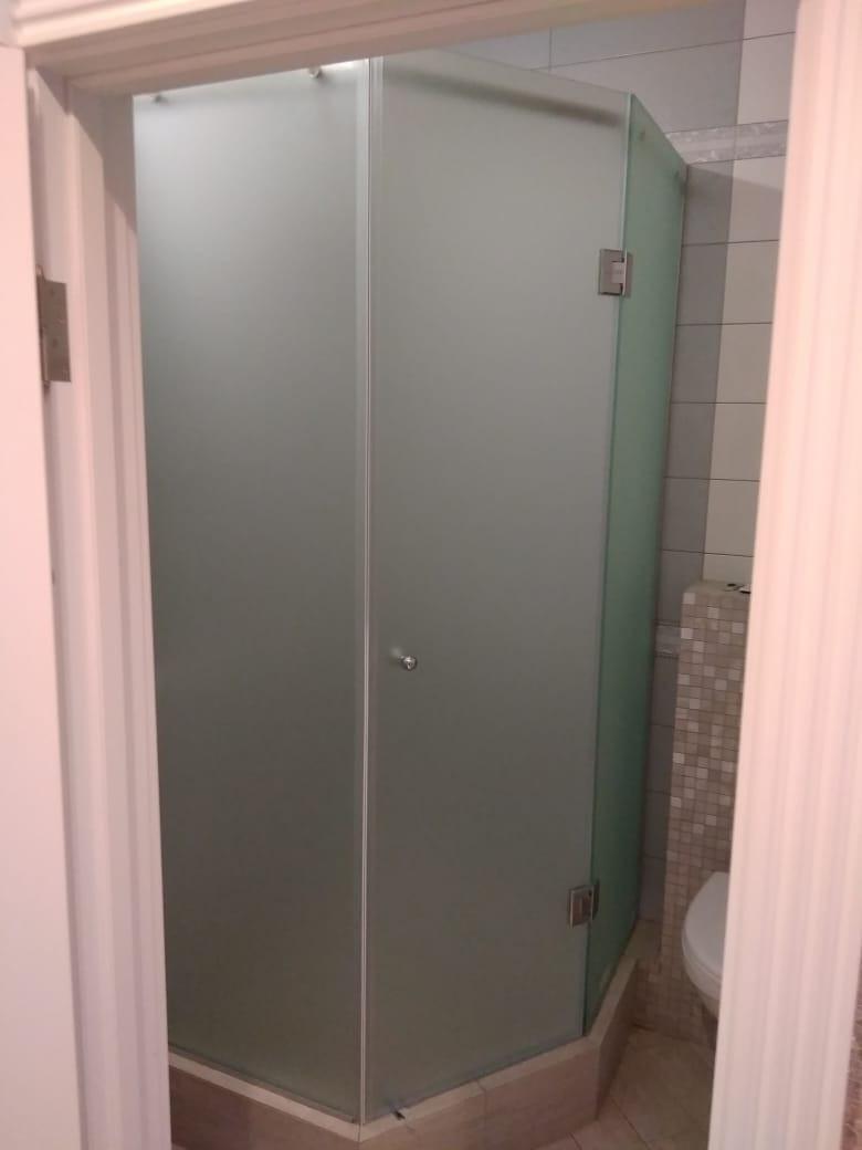 Стеклянная душевая с дверью