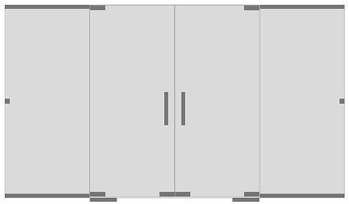 Стеклянная перегородка с двумя дверьми и экраном