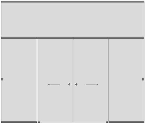 Перегородка с двустворчатой дверью и фрамугой №6
