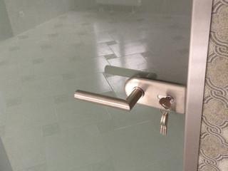 Стеклянная дверь с коробкой из нержавейки