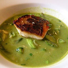 Course 2_ Branzino in Spring Vegetable Soup. Wish you guys had smell-o vision. This smells like a ga
