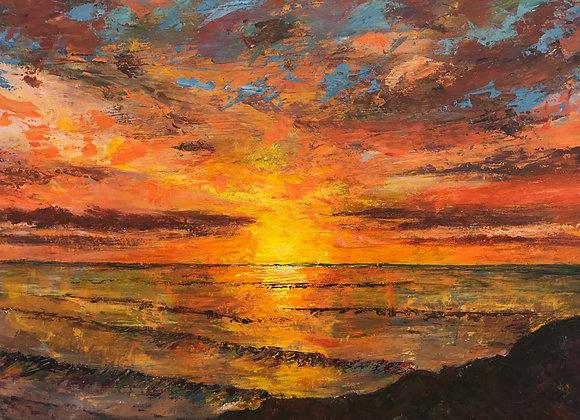 Sunset over a Cornish Coast