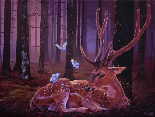 """Deer with butterflies in purple forest"""