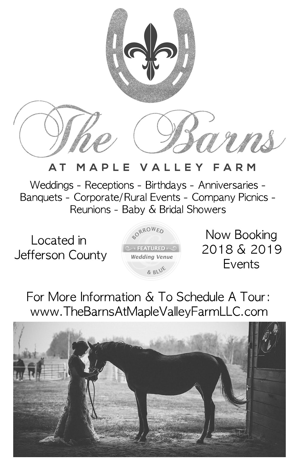 Our New Black and White Ad says it all !!! We are still booking for 2017 !!! Great Job - Jacqueline Binkley Photography