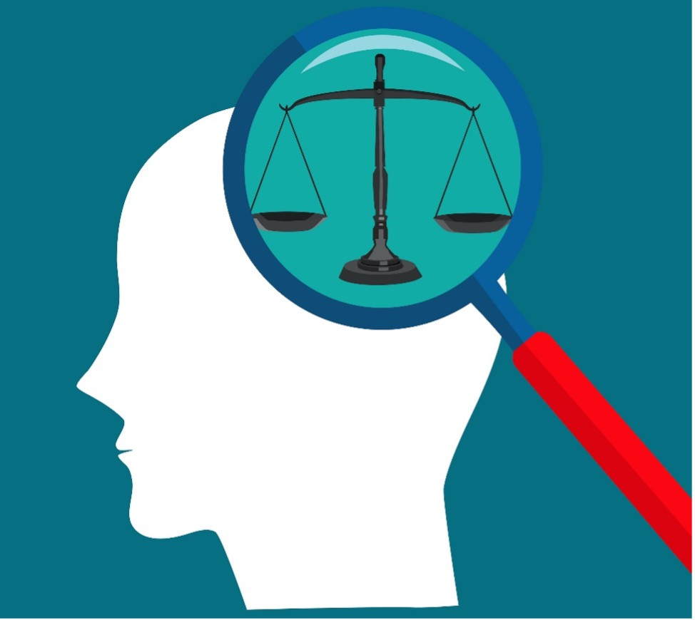 Graphic of a persons head with a magnifying glass over it. Under the magnifying glass are the scales of justice.