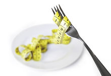 Plate and fork with a measuring tape
