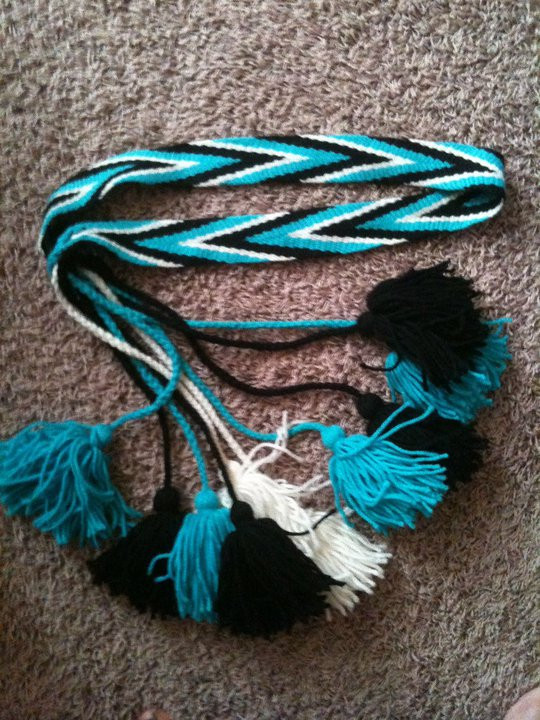 woven belt in turquoise black and white 2000