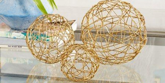 Gold spheres set of 3