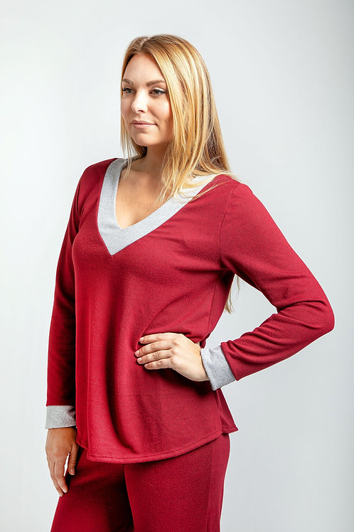 Long Sleeve V Neck Top, PJ & Loungewear w/ ME Barely There Bra