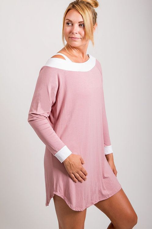 Long Sleeve, Off-shoulder Dress, PJ & Loungewear  w/ME Barely There Bra