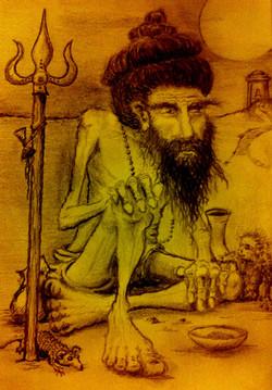 Sadhu with rat and monkey