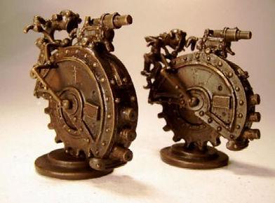 Bronze 'Robots & Aliens' custom chess set sculpture by Vincent Villafranca of Villafranca Sculpture