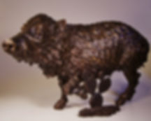 Bronze javelina & prickly pear sculpture by Vincent Villafranca of Villafranca Sculpture