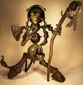 Bronze robot sculpture 'The Celestial Itinerant' by Vincent Villafranca of Villafranca Sculpture