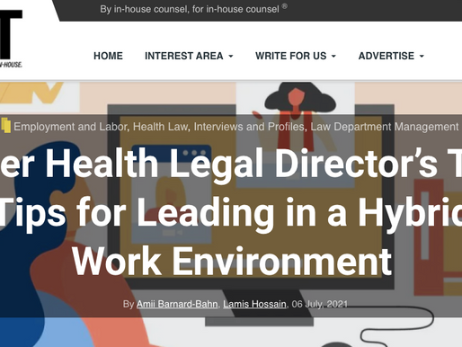 Uber Health Legal Director's Top Tips for Leading in a Hybrid Work Environment