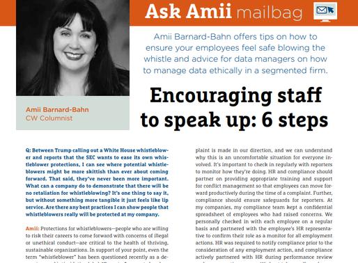 Compliance Week Ask Amii Mailbag: November/December 2019