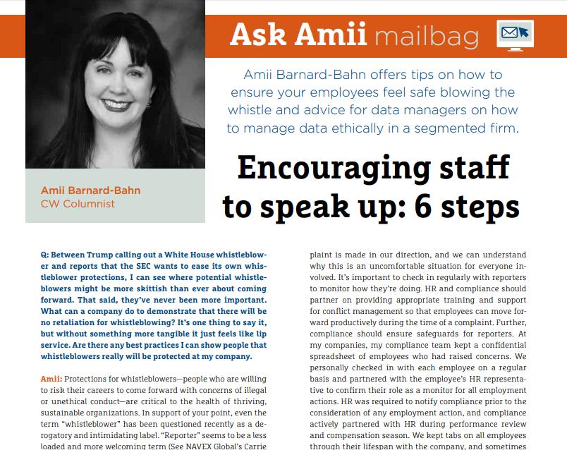 Ask Amii mailbag November/December