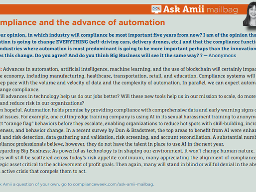 Ask Amii: Compliance and the Advance of Automation