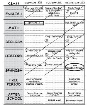 high school student planner example