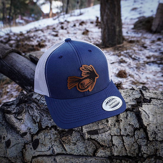 Navy Leather Fly Hat