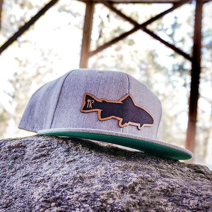 Heather Grey Leather Fish Flat Bill Hat