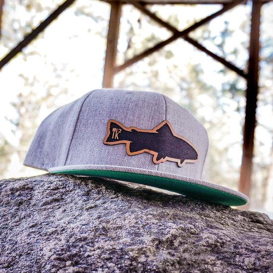 Leather Fish Flat Bill Hat