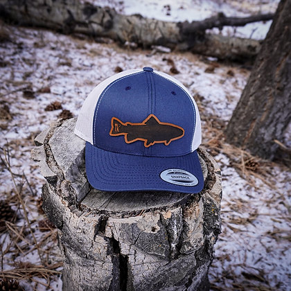 Navy Leather Fish Hat