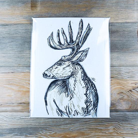 Silver & Gold Deer Drawing